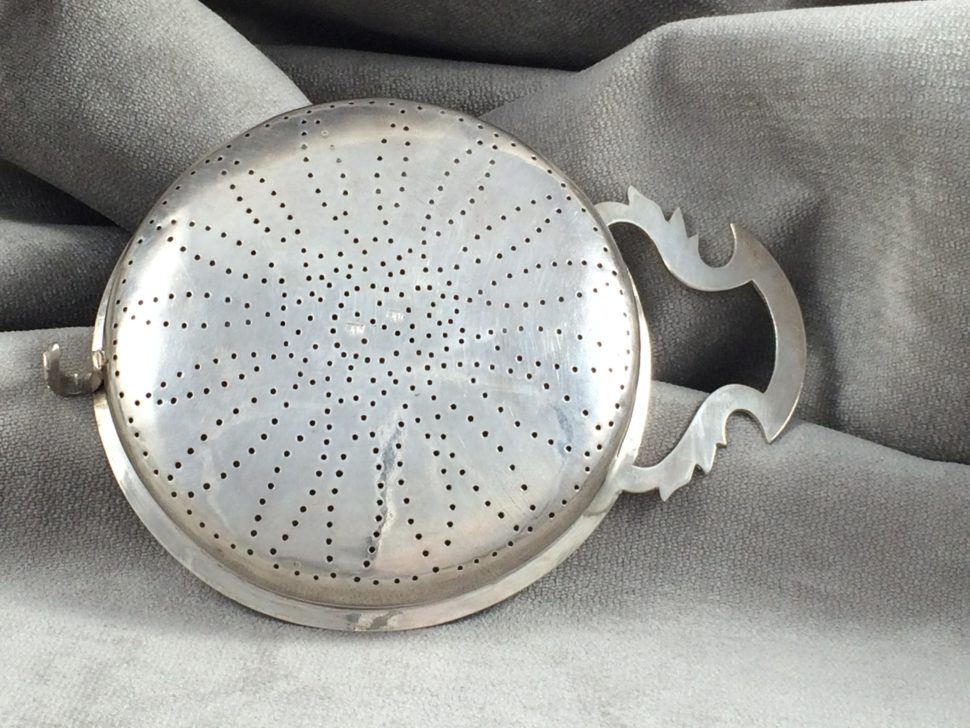 Bottom View of Antique Silver Punch Strainer