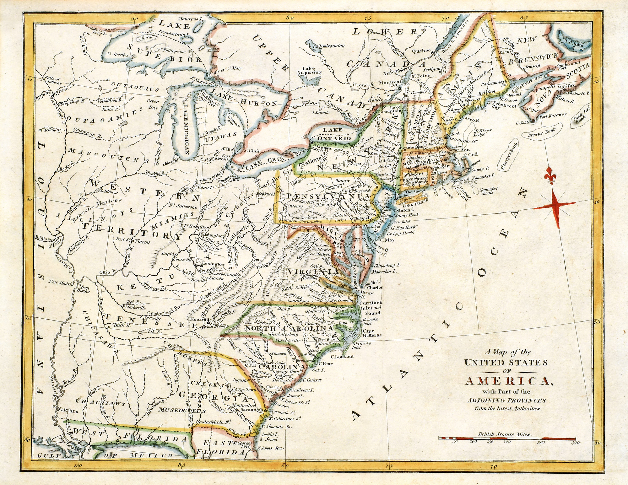 Early map of Colonial America.
